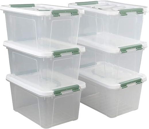 Ikando Cajas Contenedores Almacenaje de Plástico Transparente para Primeros Auxilios con Tapas, Paquete de 6: Amazon.es: Hogar