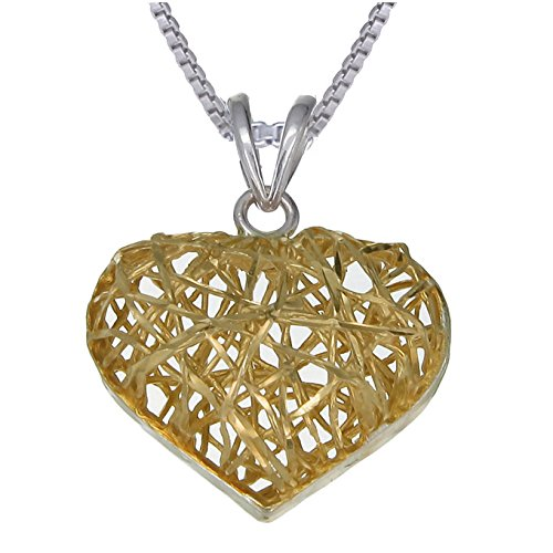Yellow Gold Plated Silver Heart Pendant With 18 Inch Chain (3/4 Inch)
