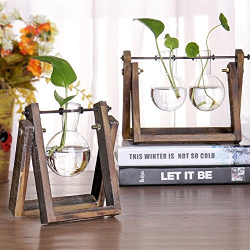 HaloVa Terrarium, Retro Creative Plant Terrarium, Modern Decorative Glass Planter Hydroponics Terrarium with Wooden Stand for Home Office and Centerpieces Decor, 3 Terrariums