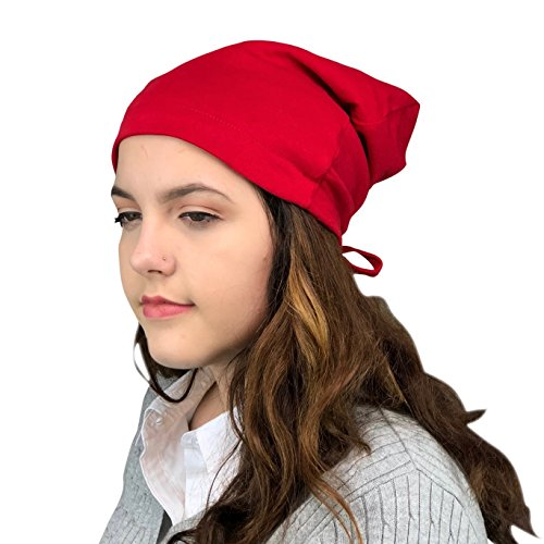 - Satin Life Adjustable Drawstring Soft Slouchy Satin Lined Hat Cap Beanie (Red)