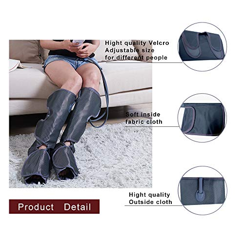 Konliking Leg Air Compression Massager Improve Blood Circulation for Foot Calf Massage with Portable Handheld Controller - 2 Modes & 3 Intensities Portable (Black)