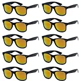 WHOLESALE UNISEX 80'S RETRO STYLE BULK LOT PROMOTIONAL SUNGLASSES - 10 PACK (Gloss Black / Lava Red Mirror, 52 mm)