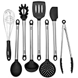 Kitchen Utensil Set - 8 Piece Cooking Utensil Set - Silicone and Heat Resistant Stainless Steel Utensils for Nonstick Cookware - Serving Utensils Includes - Spoons, Spatula, Tongs, Whisk, Ladle, Pasta