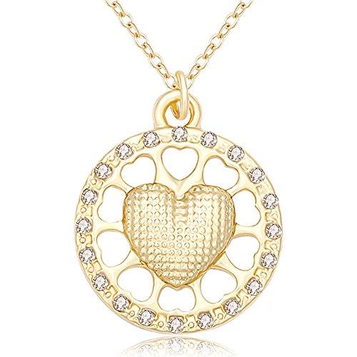 10k Gold Sf Heart Pendant (SENFAI Tiny Heart Sunflower Pendant Necklaces 18