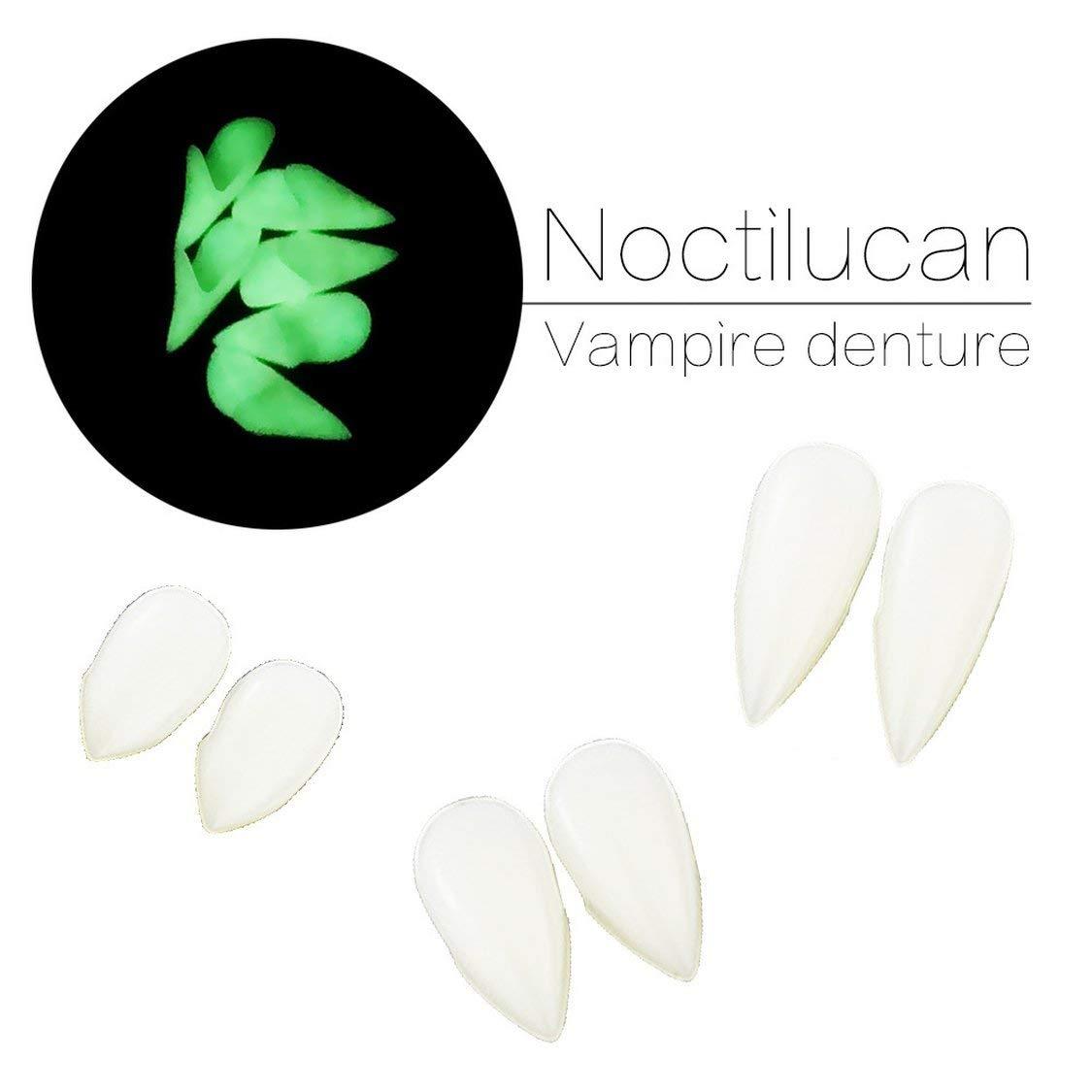 FancyswES8eety Halloween Vampire 19Mm Dentadura Cosplay Masquerade Props Zombie Teeth Peque/ño Tiger Braces Resina Dentadura