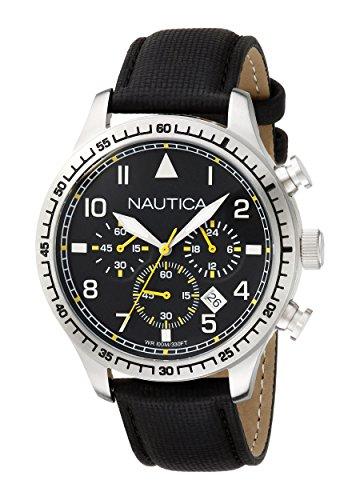 Nautica Men's A16577G BFD 105 Chrono Analog Display Analog Quartz Black Watch