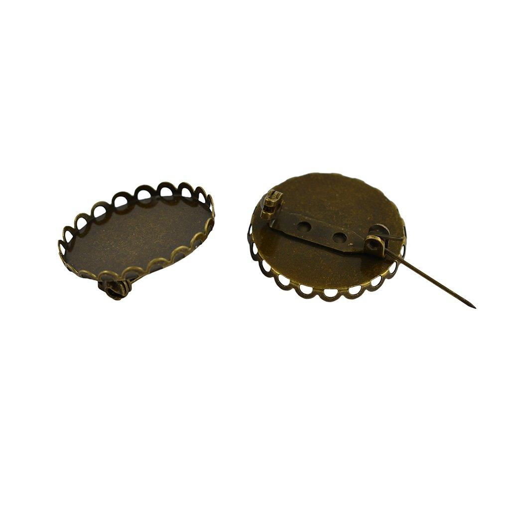 Sharplace 10pz 25mm Spilla Vuoto Bavero Pin Distintivo Base Fiore Rotondo Pad per Creazione Gioielli Bronze
