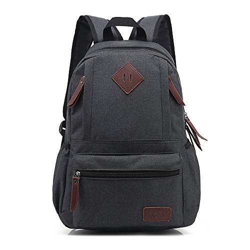 Backpack School Black Weekend Vintage College Laptop Casual Bag ZDTech Travel Canvas Bag Gray Computer Daypack Ourdoor Backpack Shoulders 58dOTxOqn