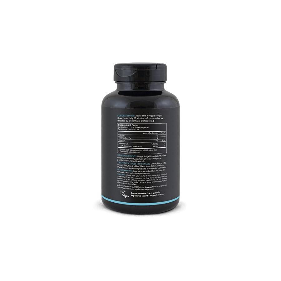 Plant Based CLA 1250 for Men & Women | Vegan Safe, non GMO & Gluten Free (180 Veggie Softgel Capsules)