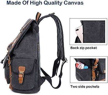 54c1587fdcb Vintage Canvas Backpack College - Knapsack Backpacks Rucksack ...