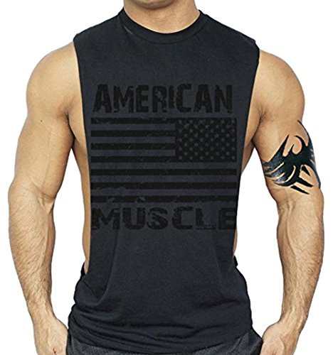 Interstate Apparel Inc American Muscle Workout T-Shirt Bodybuilding Tank Black on Black XS-3XL (S, Black)