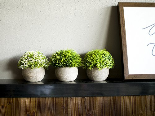 Opps Artificial Plastic Mini Plants Unique Fake Fresh Green Grass Flower In Gray Pot For Home