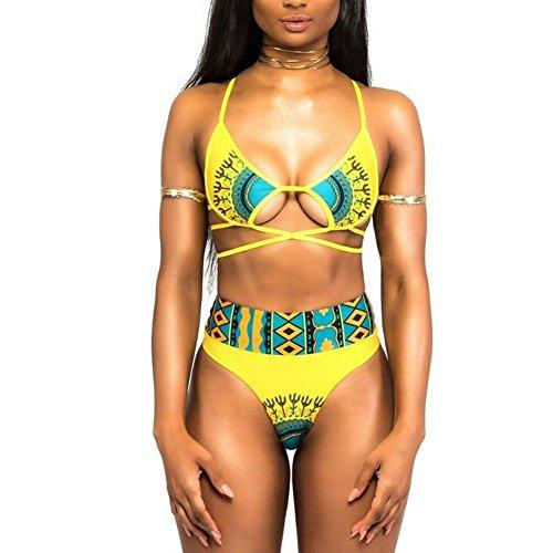 Price comparison product image Womens 2 Piece Swimsuit African Print Cut Out Monokini High Waisted Bikini Set (M, Yellow)