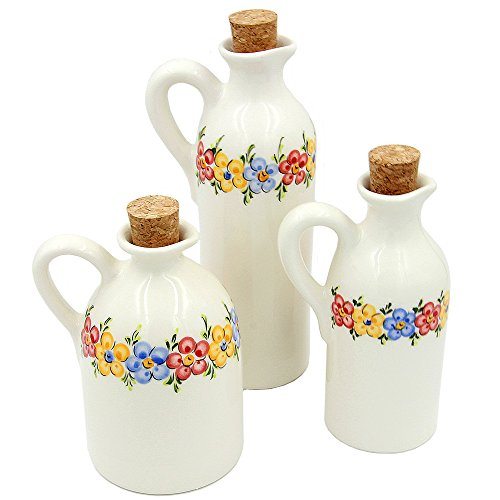 Set Of 3 Hand Painted Decorative Ceramic Bottles Made in Portugal