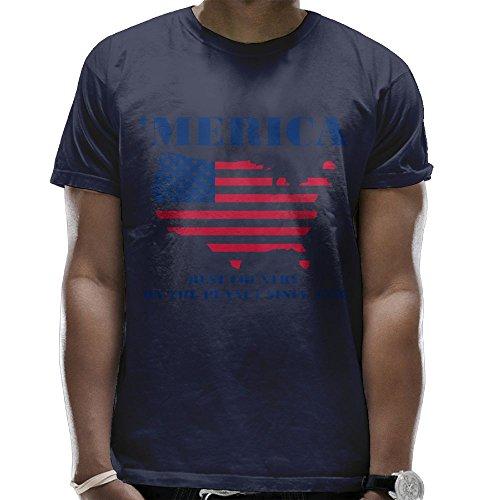Romantic Fish Merica Since 1776 T Shirts For Men Graphic Hip Hop Summer Pattern Top Cartoon Navy Medium