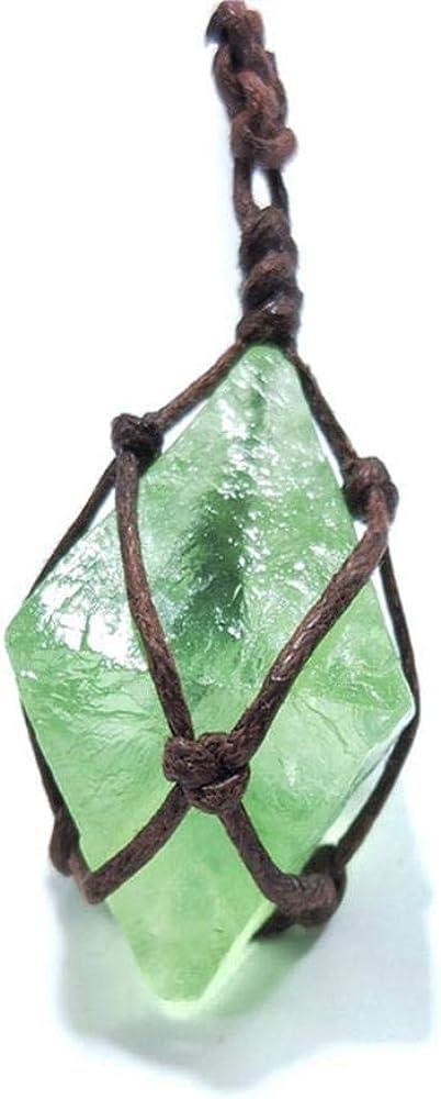 Collar Colgante de Jade para Mujer Cristal de Esmeralda Natural Curación de Coche Varita de Piedras Preciosas Fluorita Verde Envoltura Trenza Yoga Macramé para Hombres