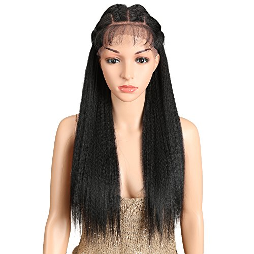 "Joedir 24"" Straight Yaki Free Part Lace Frontal Wigs with Baby Hair Hight Temperature Synthetic Human Hair Feeling Wigs For Black Women 180% Density Wigs Black Color 200g(1B)"