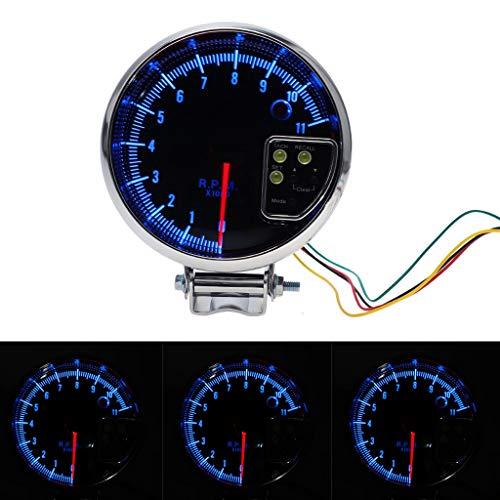 (Transser 5 Inch Tachometer Gauge Kit - Universal 12V Blue LED 10000 RPM Meter with Red Shift Light for Auto Gasoline Car Accessories (black))