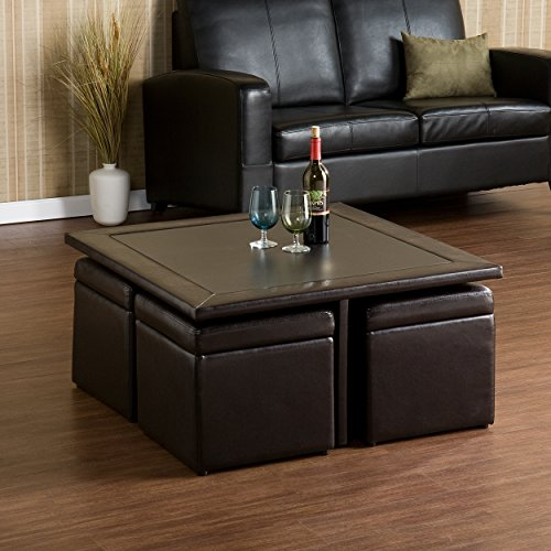 Southern Enterprises Nylo Storage Cube Table and Ottoman Set, Dark Chocolate Finish (Set Table Cocktail Storage)