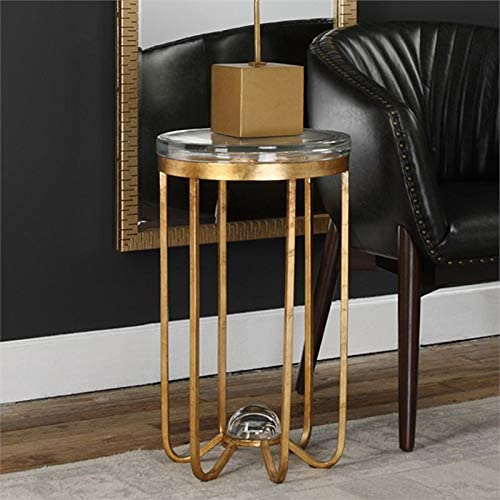 Uttermost Allura 14″ Round Glass Top Accent End Table