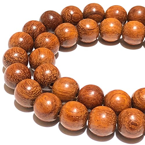 [ABCgems] Rare Bayong Redwood (Very Durable & Exquisite Wood Grain) 8mm Round Wood Beads for Beading & Jewelry Making