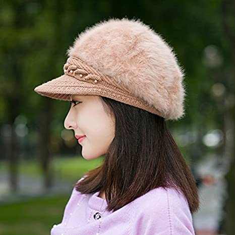 c5a2f1f6737 Amazon.com  Rabbit hair hat female Winter Hat mom fashion fur hats and  cashmere fluff peaked cap hat old old woman