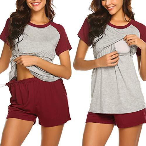 Ekouaer Women's Maternity Nursing Pajamas Cotton Sleepwear Set Soft Pregnancy Breastfeeding Hospital PJ Set (Wine Red M)