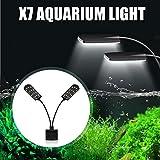 Senzeal X7 Gemini Two Heads Aquarium Fish Tank LED Light 110V 15W 1600LM 32 Aquarium Clip-on Lamp Fish Tank Plants Lighting for 8-15 Inch Fish Tank White Lighting