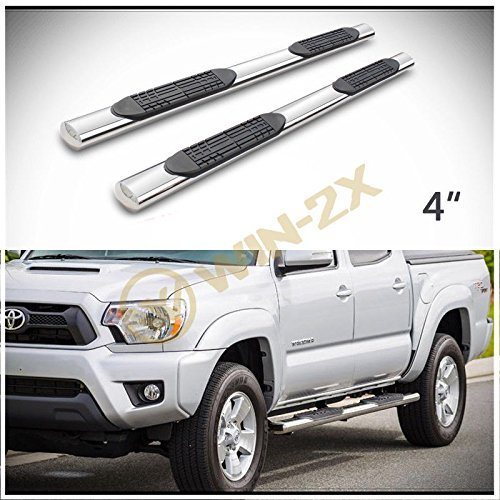WIN-2X 2pcs 4' Oval Tube Chrome Stainless Steel Side Step Nerf Bars Running Boards + Brackets + Installation Instruction Fit t 05-18 Toyota Tacoma Crew/Double Cab With 4 Full Size Doors