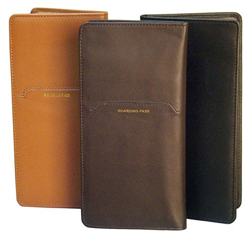 Cowhide Nappa Leather Passport Travel Organizer II Color: Brown (Brown Cowhide Nappa Leather)