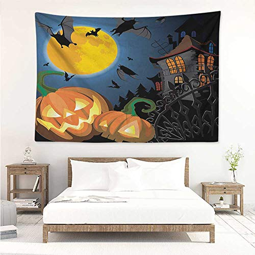 alisos Halloween,Wall Hanging Art Tapestry Gothic Halloween Haunted House Party Theme Design Trick or Treat for Kids Print 91W x 60L Inch Tapestry, Living Room Multicolor]()