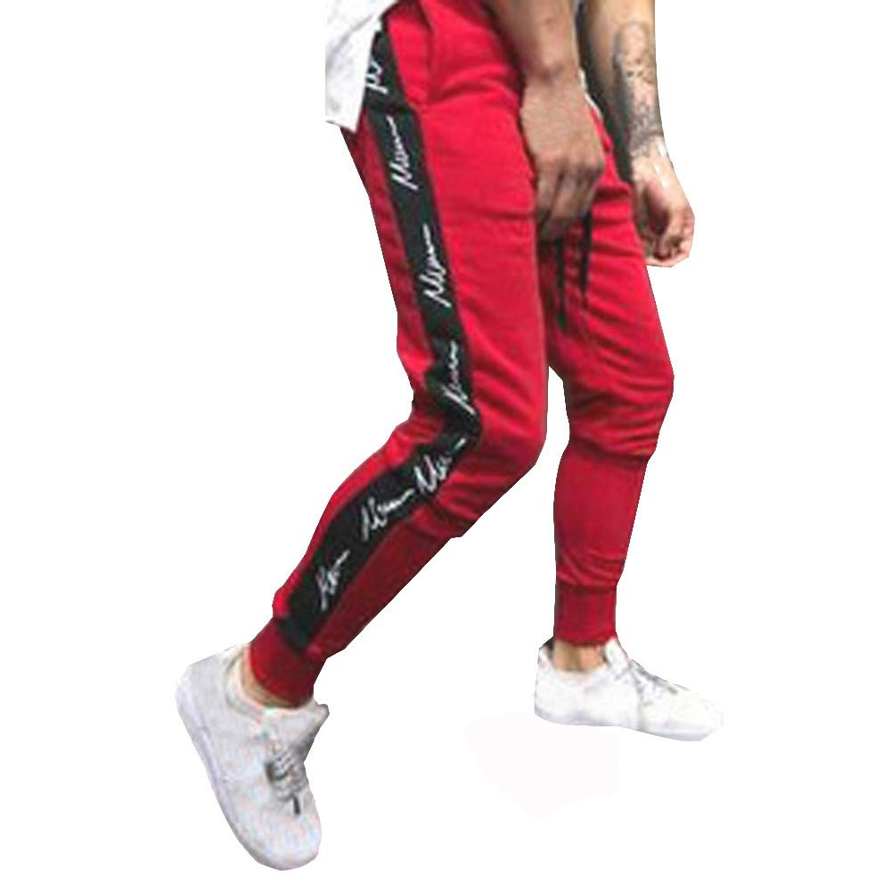 vermers Mens Pants Casual Autumn Winter Joggers Patchwork Sport Trousers Leisure Drawstring Sweatpants Pants(L, Black)