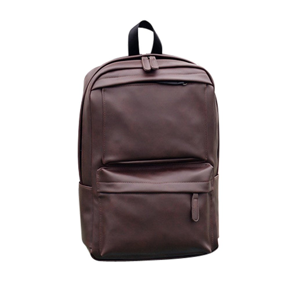 71e210fd089f Amazon.com  Wobuoke Fashion Men s Women s Leather Elegant Casual Backpack  Laptop Satchel Travel School Rucksack Bag