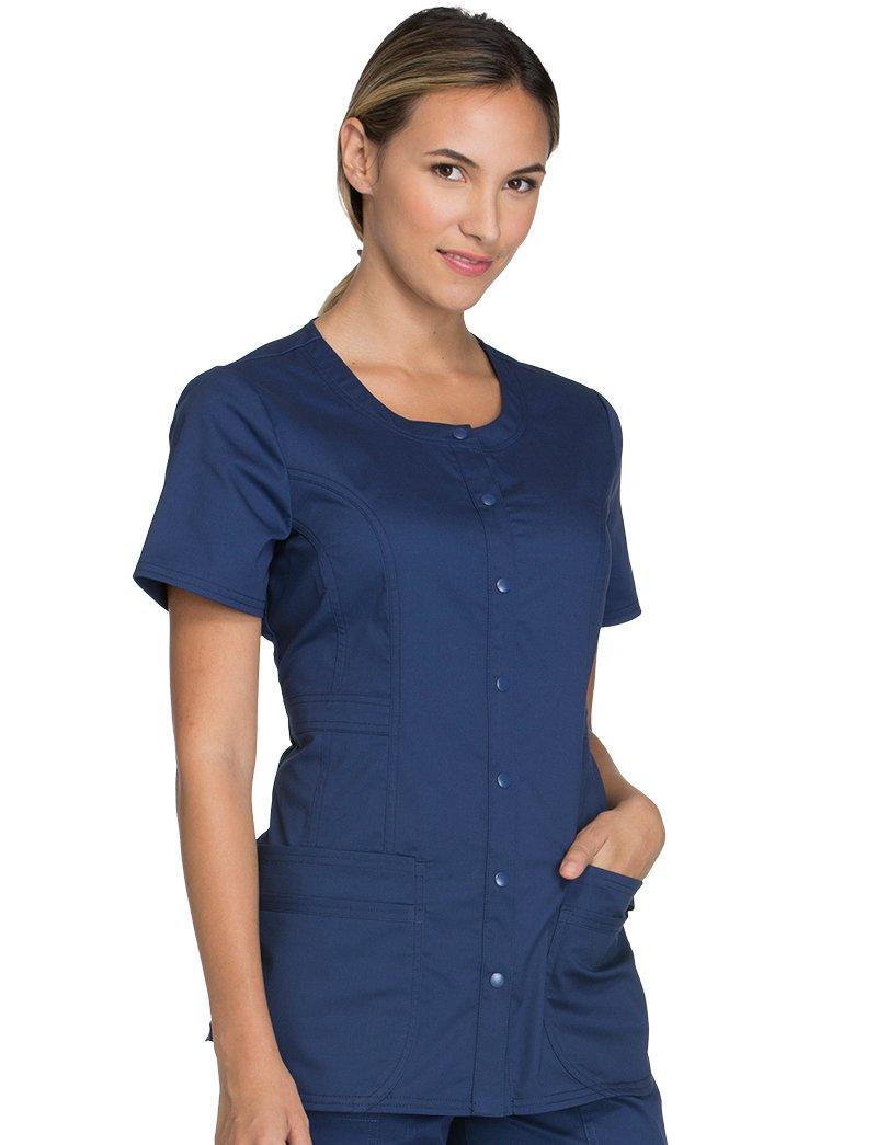 Cherokee Core Stretch Workwear Women's Round Neck Solid Scrub Top Medium Navy
