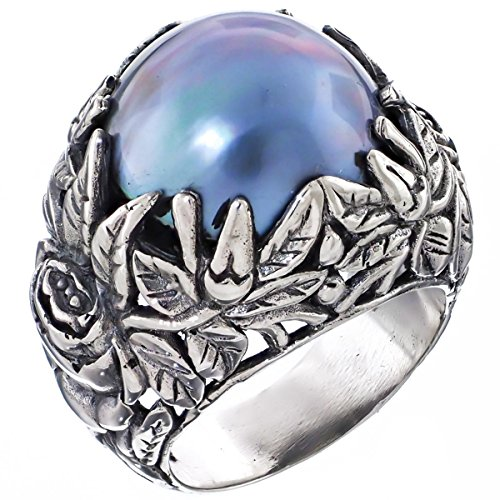 - RingSize 10 Bold South Pacific Blue Mabe Cultured Pearl Leaf Cradle 925 Sterling Silver Ring