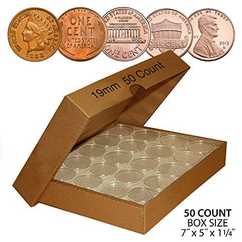 (50 PENNY Direct-Fit Airtight 19mm Coin Capsule Holder PENNIES (QTY: 50) with BOX)