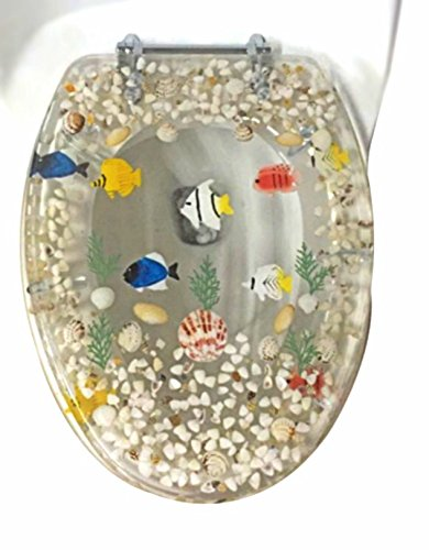Transparent Fish Aquarium Elongated Oval Toilet Seat with Cover Acrylic Seats.(Clear