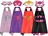 LansKids Comics Cartoon Heros Dress Up Costumes 4 Satin Capes with Felt Masks For Girls 4pcs