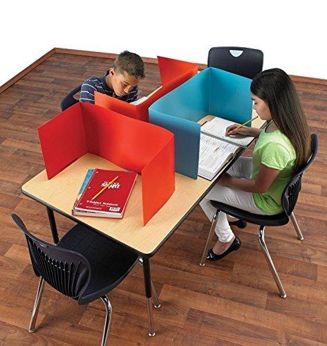 School Specialty PS-2030 Porta-Screen Carrel, Polyethylene, 44'' x 12'' Size, Assorted