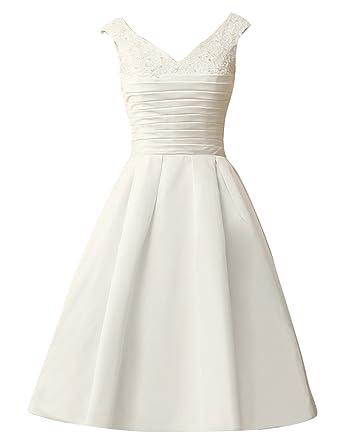JAEDEN Vintage Short Wedding Dresses Simple Bridal Gown Satin Pleat ...