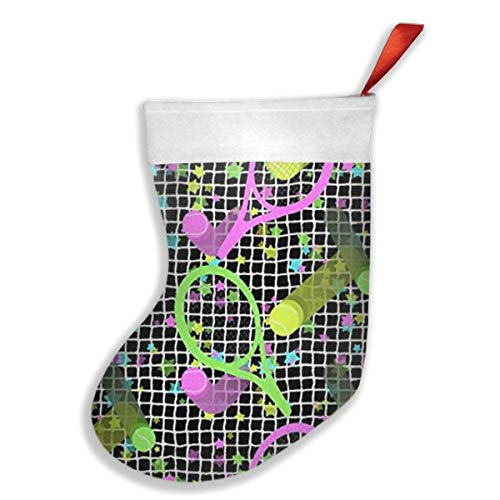 Girdsunp Stockings Retro Dayglo Tennis Stars Stocking White Polyester Cuff,Funny Socks ()
