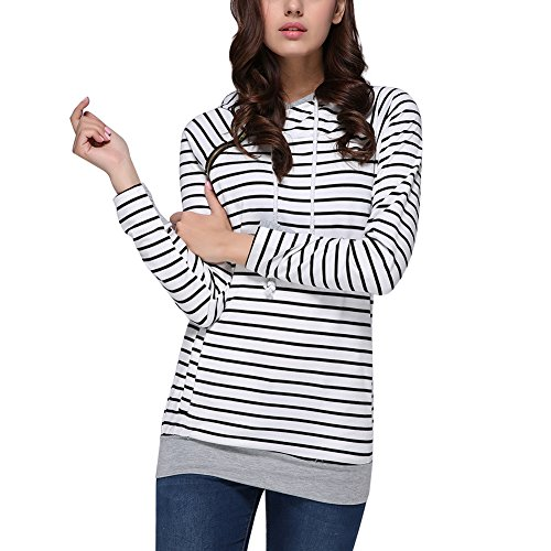 High Necked Pullover Classic Hoodie for Women Autumn Striped Medium