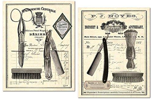 Gango Home Décor Classic Vintage Barber Shop Salon Prints by Tre Sorelle Studios; Two 11x14in Paper Posters