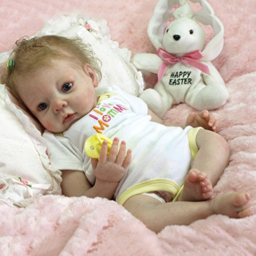 Clothful  22'' Handmade Lifelike Newborn Silicone Vinyl Reborn Baby Doll Full Body Gifts Baby Doll Turtleneck Dress
