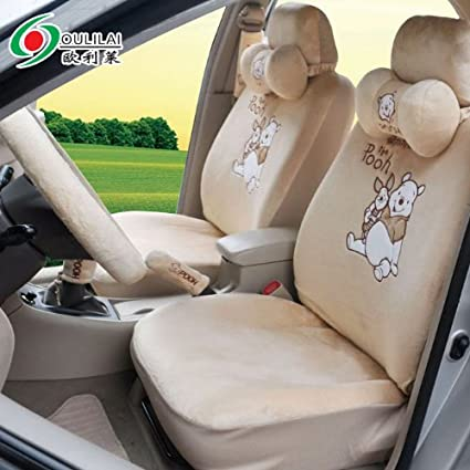 Winnie The Pooh Plush Auto Car Front Rear Universal Fit Seat Cover 19pcs
