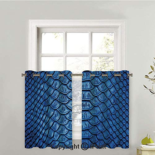 Blackout Curtains Panels for Bedroom Noise Reducing Thermal Insulated Solid Ring Top Blackout Window Drapes, Colored Snake Skin Pattern Alligator Fancy Luxury Leather Clothing Artwork Home ()