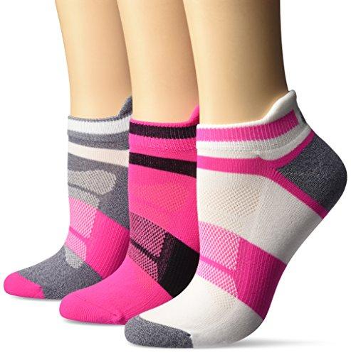 ASICS Women's Quick Lyte Cushion Single Tab Running Socks (3 Pack), Pink Glow, Medium