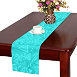 Jnseff Triangle Cyan Light Blue Pattern Seamless Color Table Runner, Kitchen Dining Table Runner 16 X 72 Inch For Dinner Parties, Events, Decor