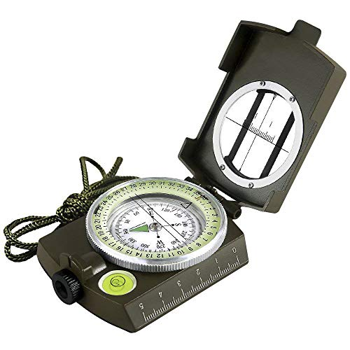 Eyeskey Multifunctional Military Army Metal Sighting Compass Waterproof for Outdoor Activities Green