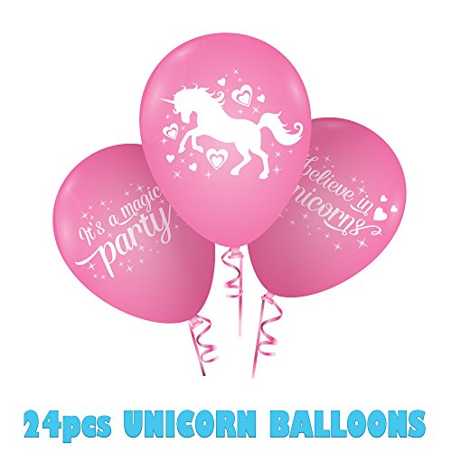 Rainbow Unicorn Theme Pink Party Balloons for Children's Novelty Party Supplies Deocrations, - Novelty Balloons